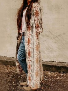 Brown Aztec Print Long Sleeve Plus Size Long Aztec Coat Cardigan