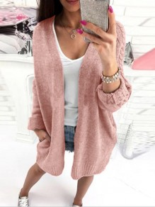 Cardigan poches col V manches longues mode oversize rose