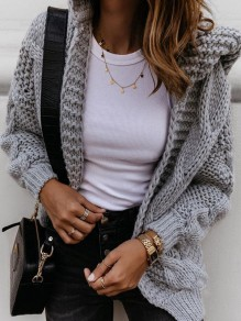 Grey Hooded Long Sleeve Oversize Fashion Cardigan Sweater