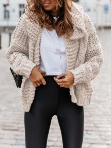 Beige Hooded Long Sleeve Oversize Fashion Cardigan Sweater