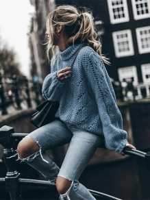 Blue Patchwork Long Sleeve High Neck Fashion Pullover Sweater