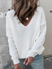 White Irregular Backless V-neck Long Sleeve Fashion Pullover Sweater