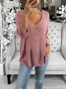 Pink Slit V-neck Long Sleeve Oversize Fashion Pullover Sweater