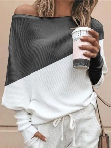 Grey White Patchwork Asymmetric Shoulder Dolman Sleeve Oversize Pullover Sweater