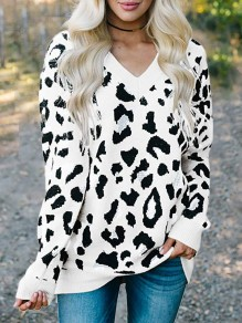 White Leopard Print V-neck Pullover Sweater