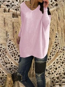 Purple Bodycon Comfy V-neck Long Sleeve Going out Sweater