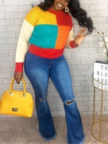 Pull color block manches longues col rond casual rouge
