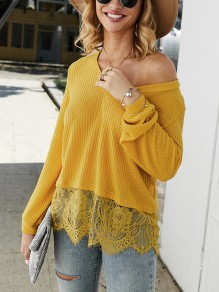 Yellow Patchwork Lace One Shoulder Long Sleeve Pullover Sweater