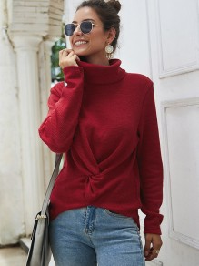 Red Knot High Neck Long Sleeve Fashion Pullover Sweater