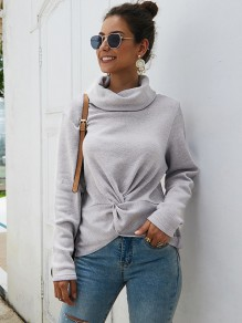 Grey Knot High Neck Long Sleeve Fashion Pullover Sweater