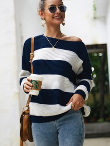 Sapphire Blue White Striped One Shoulder Long Sleeve Pullover Sweater