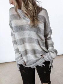 Grey White Striped Print V-neck Long Sleeve Distressed Pullover Sweater