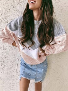 Pink Grey Patchwork Round Neck Long Sleeve Oversize Pullover Sweater