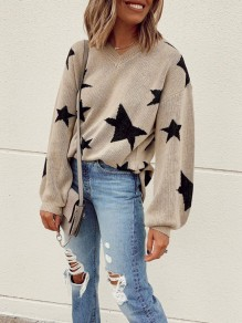 Khaki Stars Print V-neck Long Sleeve Oversize Fashion Pullover Sweater