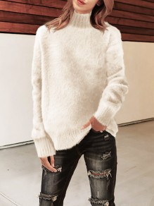 Pull col haut manches longues mode oversize blanc