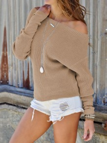 Pull manches dolman épaules casual camel