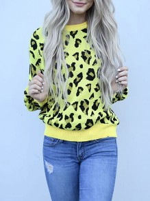 Yellow Leopard Print Round Neck Long Sleeve Casual Pullover Sweater