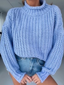 Pull col haut manches longues mode oversize bleu