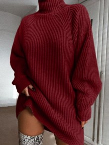 Burgundy High Neck Long Sleeve Fashion Oversize Pullover Sweater