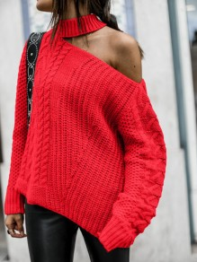 Red Cut Out One-shoulder Long Sleeve Oversize Pullover Sweater