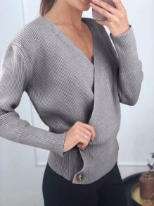 Pull boutons col en V manches longues mode gris