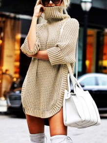 Khaki Slit Turndown Collar Elbow Sleeve Pullover Fashion Sweater