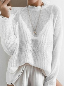 Pull col rond manches longues mode blanc