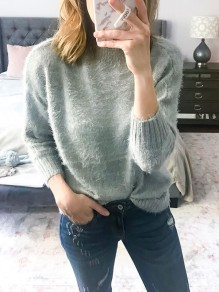 Pull mohair col rond manches longues mode oversize gris