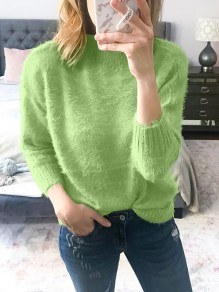 Pull mohair col rond manches longues mode oversize vert