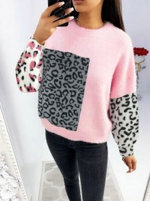 Pink Leopard Print Round Neck Long Sleeve Fashion Pullover Sweater