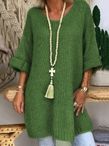 Green V-neck 3/4 Sleeve Oversize Fashion Pullover Sweater