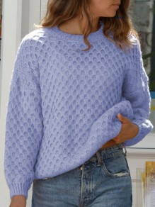 Blue Plaid Round Neck Long Sleeve Oversize Pullover Fashion Sweater