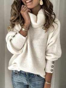 White Buttons High Neck Long Sleeve Fashion Pullover Sweater