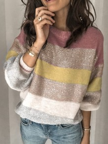 Pink Striped Print Sequin Glitter Round Neck Long Sleeve Fashion Pullover Sweater