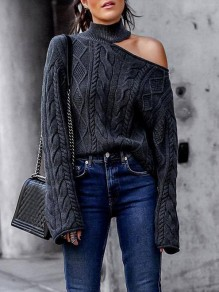 Dark Grey Asymmetric Shoulder High Neck Long Sleeve Fashion Pullover Sweater