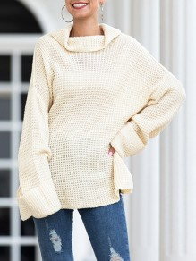 White Patchwork Draped High Neck Long Sleeve Cute Pullover Sweater