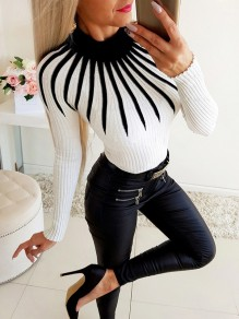 White Geometric Pattern Bodycon Round Neck Going out Sweater