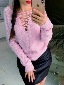 Pull cravate moulante col V confortable manches longues sortir rose
