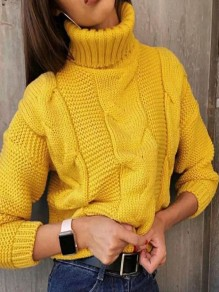 Yellow High Neck Long Sleeve Oversize Fashion Pullover Sweater