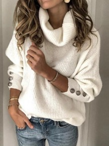 White Single Breasted High Neck Lantern Sleeve Cowl Neck Elegant Pullover Sweater