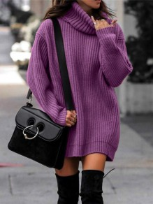 Pull col rabattu manches longues pullover mode long violet