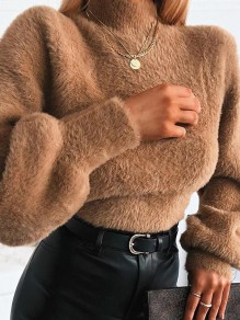 Brown Bodycon Round Neck Long Sleeve Comfy Fashion Sweater