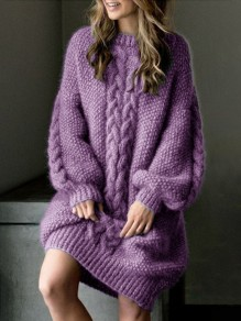 Pull robe en grosse maille manches bouffantes mode ample femme violet