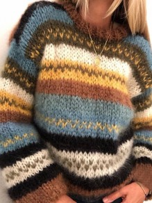 Pullover rayé col rond manches longues oversize bleu marron