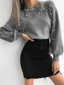 Pullover perle col rond manches longues oversize gris