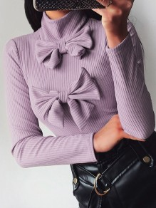 Pull noeud papillon col haut manches longues mode violet
