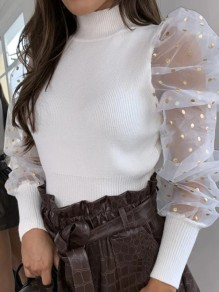White Patchwork Polka Dot Sequin High Neck Puff Sleeve Slim Fashion Sweater Pullover