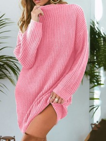 Pull col rond manches longues pull oversize long rose