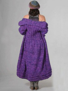 Purple Draped Tie Dye Turndown Collar Knit Cardigan Sweater