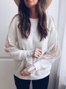 Pull dentelle col rond manches longues mode blanc